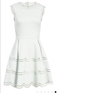 Ted Baker London White Embroidered Skater Dress